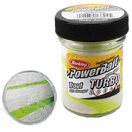 Паста  Berkley  PowerBait Select Glitter Turbo Dough  - White/Chartreuse