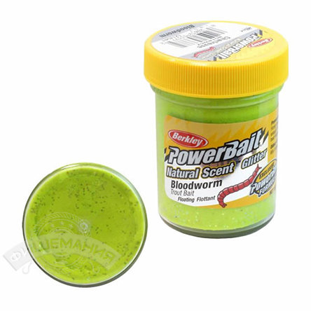 Паста  Berkley  PowerBait Dough Natural Scent Bloodworm - Chartreuse