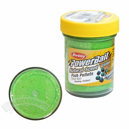 Паста  Berkley  PowerBait Dough Natural Scent Fish Pellet Trout Bait - Spring Green
