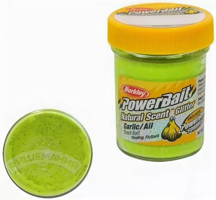 Паста форелевая Berkley PowerBait Natural Scent Garlic Chartreuse 50 gr